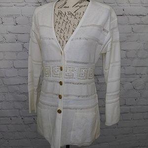 Escada Sz 36 US 6 Ivory Striped Cardigan Sweater